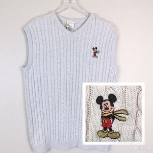 Disney Store Cable Knit Sweater Vest w/ Mickey